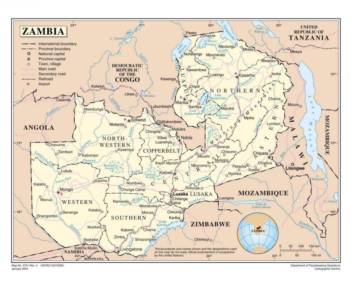 Tiekartta Sambia Kartta Road Zambi Ita Afrikka Ja Afrikan