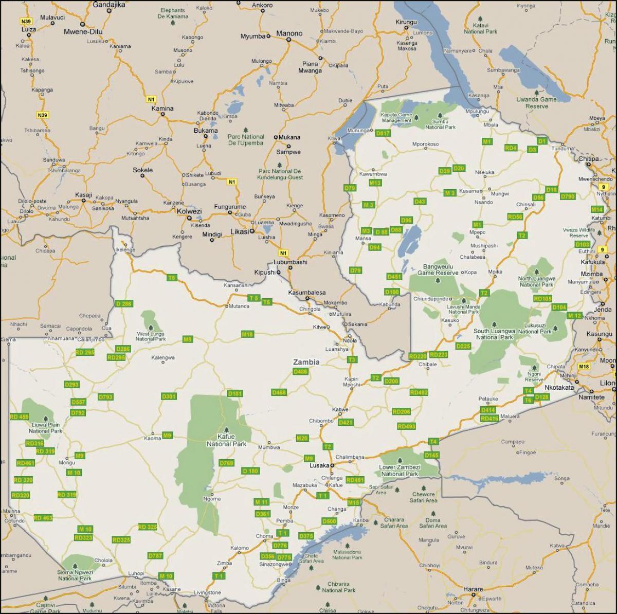 Yksityiskohtainen Kartta Sambia Kartta Yksityiskohtaiset Sambia